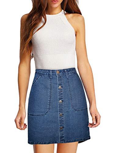 Lexi Womens Pull on Stretch Denim Skirt SKS48018 MediumBlue - Skirt Denim 12