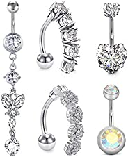 D.Bella 8Pcs Short Belly Button Rings 14G Stainless Steel for Women Girls Navel Belly Rings Crystal CZ Barbell