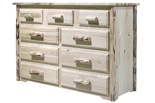 Montana Woodworks MW9DV Montana Collection 9-Drawer Dresser, Clear Lacquer Finish