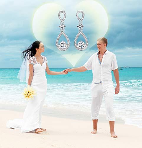 Udalyn Teardrop Dangle Wedding Earrings for Women Silver CZ Drop Earrings Prom Bridesmaid Jewelry Earrings by Udalyn (Image #4)