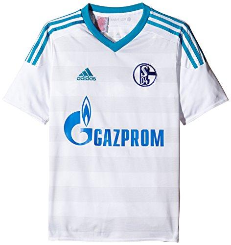 adidas Herren Kurzarm Auswärtstrikot Schalke 04 Replica, White/Bold Aqua/Clear Grey, M, S12372