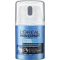 L'Oréal Men Expert Hydra Power Feuchtigkeitspflege mit Mountain Water, sensible Männerhaut, zieht schnell und ohne Rückstände ein, ohne fetten (50ml)