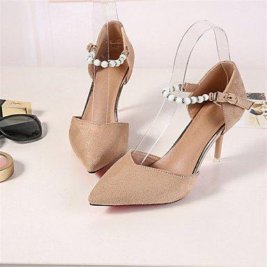 Talones Indumentaria femenina D'Orsay y de dos piezas de zapatos de boda de fiesta y noche vestido zapatos de tacón de aguja hebilla 4 Color Almond