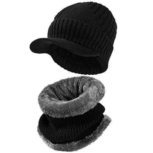 VBG VBIGER 2-Pieces Winter Knit Hat Scarf Set Warm Thick Knit Caps with Visor for Men Women by VBG VBIGER (Image #8)