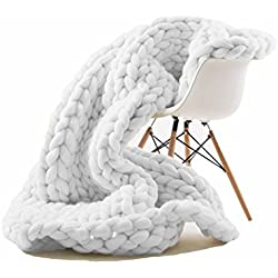 "EASTSURE Knit Acrylic Blanket Hand-made Chunky Bed Sofa Throw Super Large,White,79""x79"""