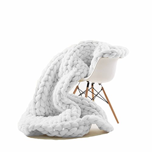 Knit Acrylic Wool (EASTSURE Knit Acrylic Blanket Hand-made Chunky Bed Sofa Throw Super Large,White,47