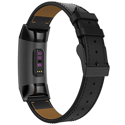 Mostof Leather Band Compatible Fitbit Charge 3 Bands, Retro Breathable Adjustable Fitbit Charge 3 SE & Charge 3 Replacement Genuine Leather Bands Straps Wristband for Women Men (Black)