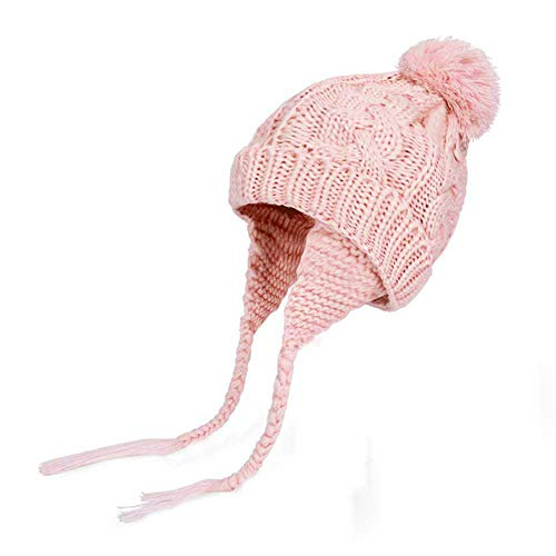 ZTY66_Hats Baby Hat Winter,ZTY66 Toddler Kids Winter Earflap Beanie Hat Boy Girl Fur Pompom Knit Hats (Pink)