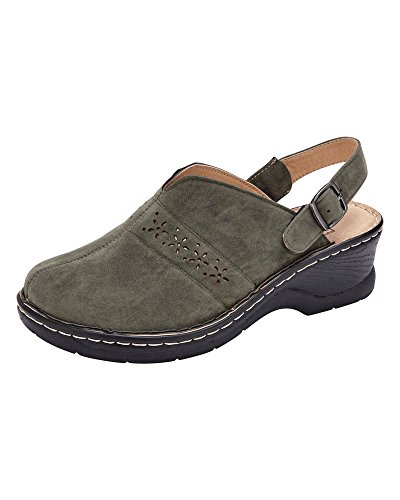 Cotton Traders Ladies Womens 2-in-1 Cut Out Detail Clogs Shoes Lightweight Suede Upper Olive