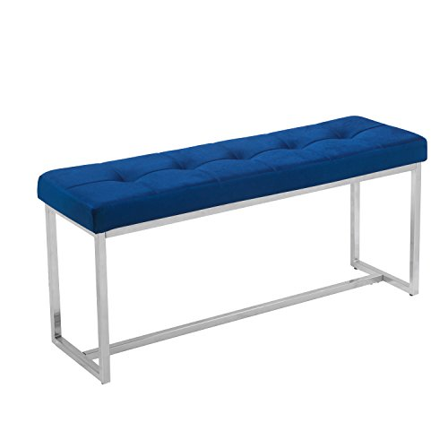 Adeco Stainless Steel Bench Entryway Footstool with Bottom Long Bench, Fabric- Blue by Adeco