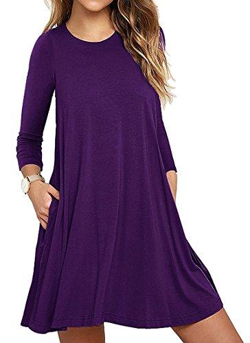 Mujer Casual Loose Talla Grande Vestido de Camiseta con Bolsillos O-Cuello Manga Larga Vestido de Fiesta de Noche Morado