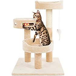 """PETMAKER Cat Tree 3 Tier 2 Hanging Toys A 3 Ball Play Area and Scratching Post, 27.5"""", Tan"""