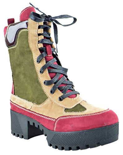 Bambo Powerful 06S Womens Chunky Heel Platform Lug Sole Military Combat Boots Burgandy 8