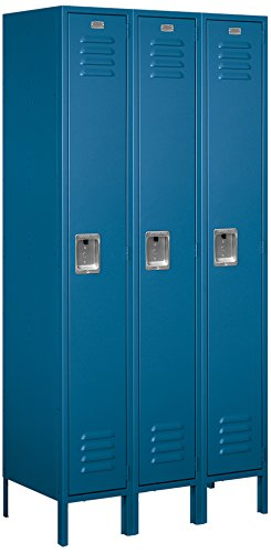 Salsbury Industries Assembled 1-Tier Standard Metal Locker with Three Wide Storage Units, 6-Feet High by 18-Inch Deep, Blue -
