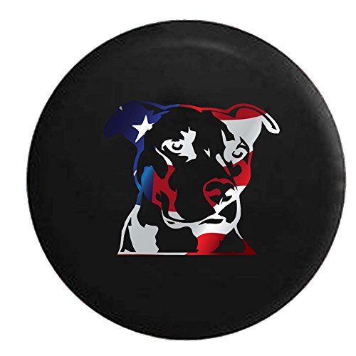 Flag - Pitbull Terrier Staffy Dog Lover K9 Jeep Woof Spare Tire Cover Vinyl Black 33 in