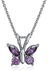 Bling Jewelry 925 Sterling Silver Simulated Amethyst CZ Butterfly Childrens Necklace 18in