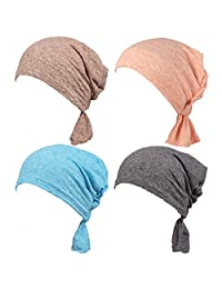 Slip-On Chemo Beanies Scarves Pre-Tied Bandana for Cancer Patients(Pack of 4)