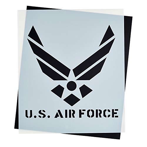 Large U.S AIR FORCE STENCIL for Painting on Wood, Fabric, Walls, Airbrush + More | Reusable 12 x 14 inch Mylar Template (USAF Military - Stencil Logo