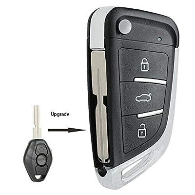 Keyecu Upgrade Flip Remote Key Fob 315MHz ID44 for BMW EWS 1998-2009- LX8 FZV (HU58, 315MHZ): Automotive