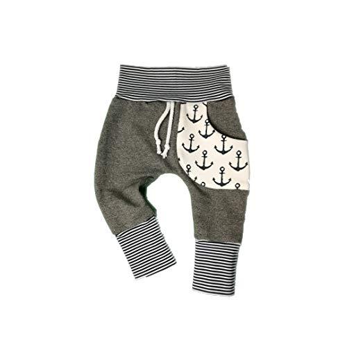 Baby Pumphose mit Tasche Gr.50-104 Anker Grau Wei/ß Handmade Puschel-Design