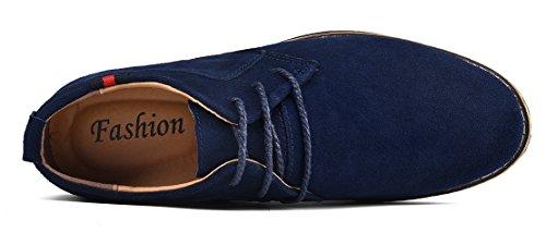 Mohem Darren Mens Premium Äkta Läder Spets-up Oxfords Skor Mocka-blue