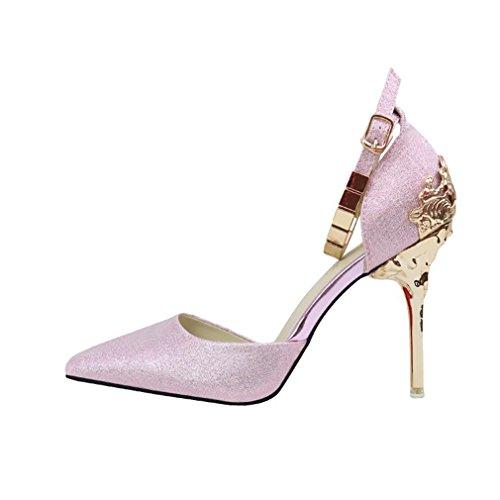 Donne Di Moda Cybling Scarpe A Punta Tacco A Spillo Pompe Con Cinturini Alla Caviglia Scarpe Da Sposa Rosa