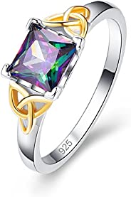 Veunora 925 Sterling Silver Created 6x6mm Princess Cut Rainbow Topaz Filled Yellow Celtic Knot Ring