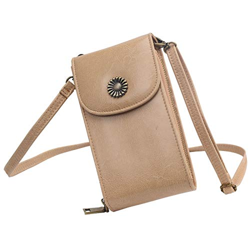 (Women RFID Blocking Small Cell Phone Purse Crossbody Bag Smartphone Wallet with shoulder strap (Beige))