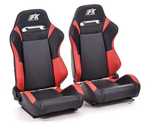 Pair of Ergonomic Performance FK Sport Seats Half Bucket Seats Set Frankfurt Artificial Leather Black/Red: