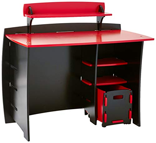 Legare Kids Desk with File Cart, 43-Inches Wide, Red and Black ()