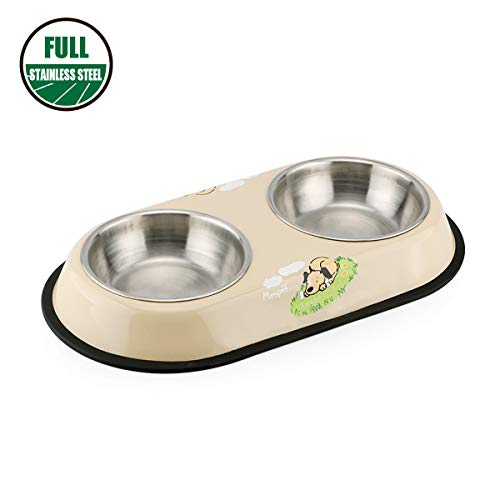 Dog Bowls Double Dog Food Water Bowl and Cat Bowl Set with Sturdy Full Stainless Steel Stand and Non-Skid Rubber Base 16 oz Pet Bowls for Small to Medium Dogs Cats Rabbits and Pets (Beige)