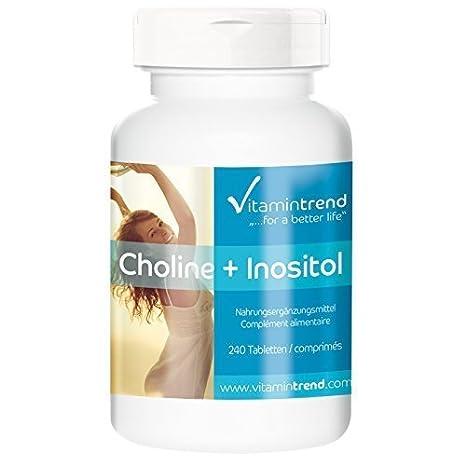 Tabletas de colina con inositol – 240 tabletas para ¡¡8 MESES!! -