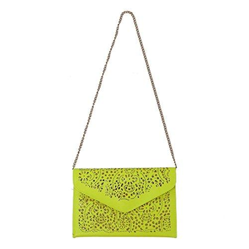 TOOGOO(R) Vintage Nacional Bolso de la tendencia de mujer Bolsa del sobre del recorte Bolsa crossbody de hombro Bolsa de mujer de embrague Azul amarillo fluorescente