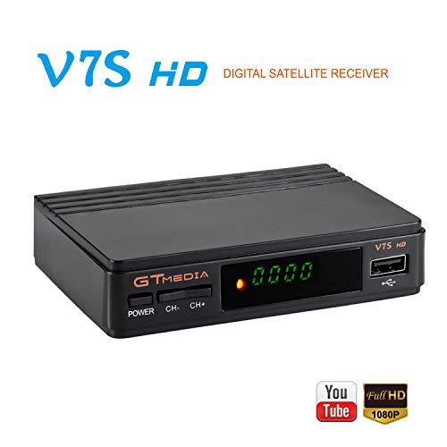 GTMEDIA V7S HD DVB-S2 FTA Satellite Receiver Digital Converter Box Upgrade Freesat V7 HD Free to Air 1080p Full HD Decoder Support PVR Cccam Newcam YouTube PowerVu Dre Biss Key +USB WiFi Antenna