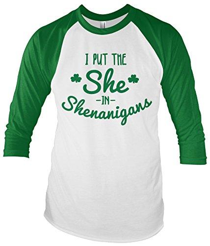 Threadrock Women's I Put The She in Shenanigans Unisex Raglan T-shirt L White/Kelly