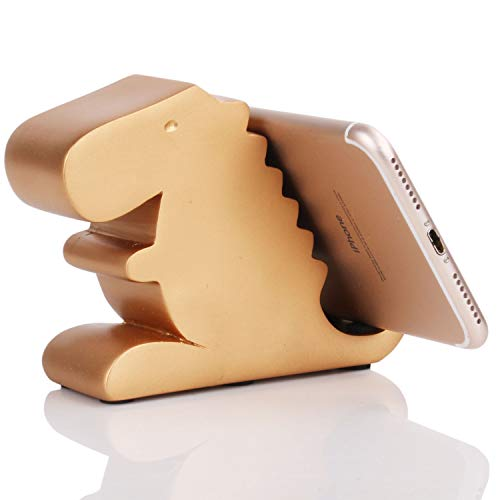 Plinrise Desk Tyrannosaurus Cell Phone Stand Mounts, Compatible Cute Dinosaur Stand for Mobile Phone & Tablet, Decorative Candy Color Phone Holder for Home & Office (Gold) (Stand Creative)