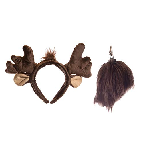 Wildlife Tree Plush Moose Ears Headband and Tail Set Moose Costume, Cosplay, Pretend Animal Play or Forest Animal Costumes