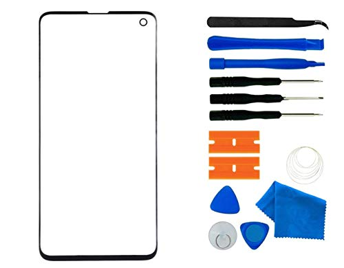 Original Galaxy S10 Screen Replacement, Front Outer Lens Glass Screen Replacement Repair Kit for Samsung Galaxy S10 G9730 Series (Galaxy S10 6.1'- Black)