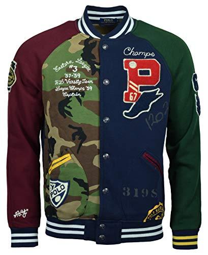 Polo Ralph Lauren Men's Patchwork Fleece Baseball Jacket - M- Cruise Navy Multi (Lauren Fleece Ralph Mens)