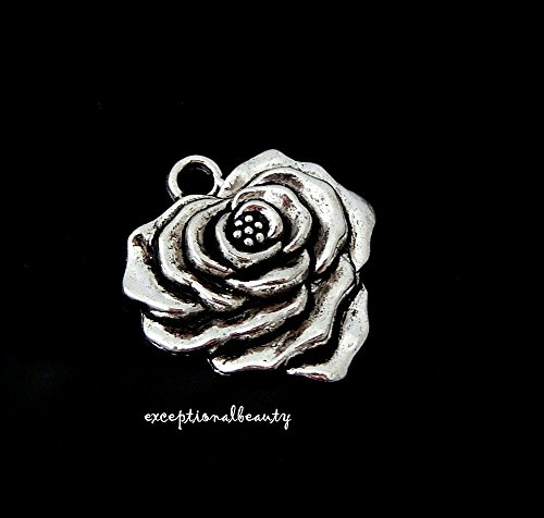 Rosebud Charms 2 - 2 Tibetan Antiqued Silver 23mm Flower Rose Bud Bloom Bead Focal Pendant Charms
