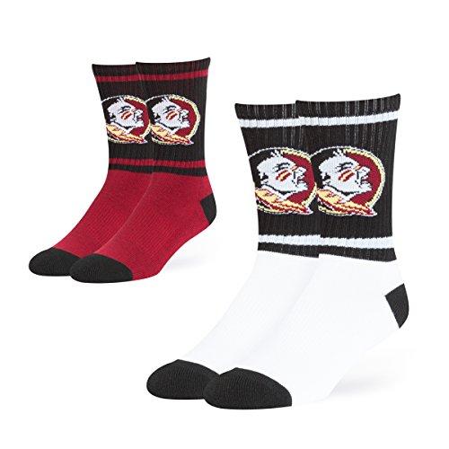 OTS NCAA Florida State Seminoles Dasher Sport Socks (2 Pack), Large, Team Color -