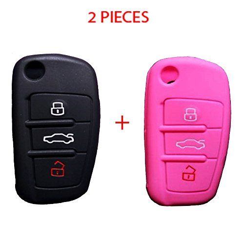 WELLSKEY Black + Pink Silicone Car Key Case Cover Holder Replacement 3 Buttons For Audi A3 / A4 / A6 / A8 / TT / Q7 / R8 - Pack of 2 pcs