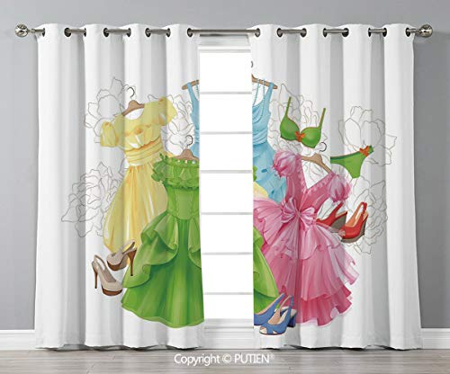Grommet Blackout Window Curtains Drapes [ Heels and Dresses,Princess Outfits Bikini Shoes Wardrobe Party Costumes Girls Room Decor,Multicolor ] for Living Room Bedroom Dorm Room Classroom Kitchen Cafe