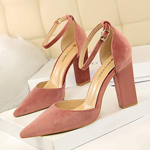 Alto Hoesczs Tacón Altos Zapatos Simples Baja Hueco Pink Finos tacones Con Boca Mujer Para Fino Acentuado rYrHwq