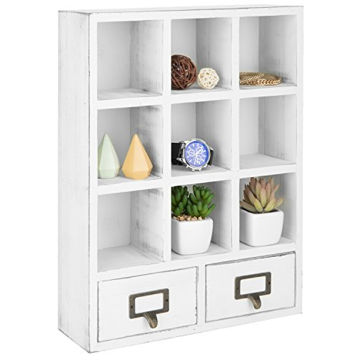 Decor Wall Shadow Box (MyGift 9-Slot Vintage White Wall-Mounted Shadow Box Display Shelf with 2 Pullout Drawers)