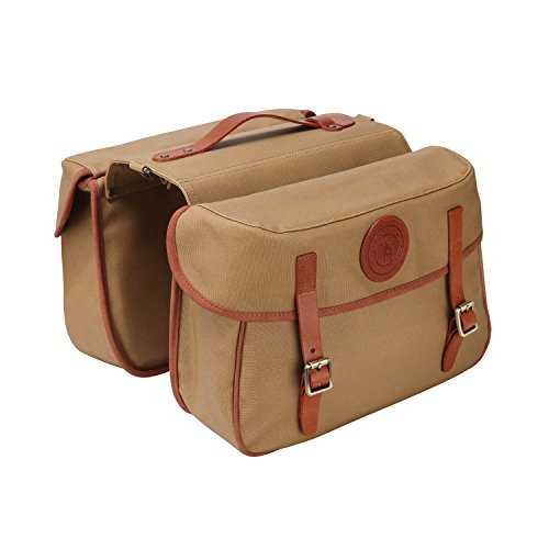 TOURBON Waterproof Canvas Bicycle Bike Rear Seat Carrier Bag Cycling Double Pannier Bag Pack (Khaki(Can't Roll Up))