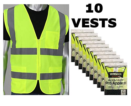 (Worktex Safety Economy Fabric Class 2 Safety Vest with Two Pockets & Zipper - Yellow/Lime, Size S, 10 per Pack )