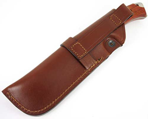 TARTESSUS ONE - Outdoor / Survival / Hunting / Tactical Knife - Cocobolo wood handle, Stainless Steel MOVA-58 - Genuine Leather Sheath. Made in Spain by CDS-Survival (Image #5)