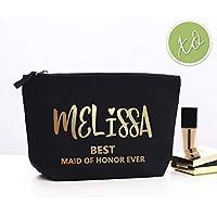 efd89ed8e6c Bridesmaid Makeup Gift Bag Custom Gold or Silver Monogram Bridesmaid Cosmetic  Bags Bridesmaid Gift Maid of