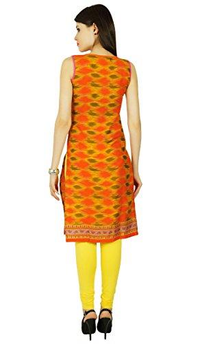 Impreso étnico algodón ocasional de Bollywood mujeres vestido de la túnica Kurti Naranja y verde verde oliva